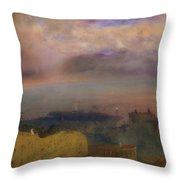 View Of The Bay Of Naples With Vesuvius Smoking In The Distance Throw Pillow