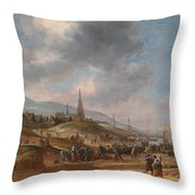 View Of The Beach At Scheveling Throw Pillow