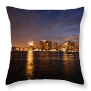 View Of The Boston Waterfront At Night Throw Pillow