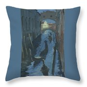 View Of The Bridge Of Sighs At Night. Throw Pillow