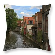 View Of The Canal From Maria Brug On Katelijnestraat In Bruges Throw Pillow