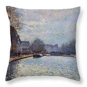 View Of The Canal Saint-martin Paris Throw Pillow