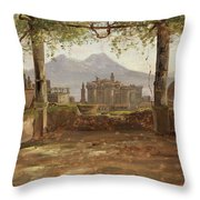 View Of The Castel Nuovo And Vesuvius From A Pergola Throw Pillow