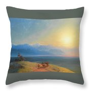 View Of The Caucasus With Mount Kazbek In The Distance Throw Pillow