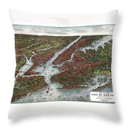 View Of The City Of New York And Vicinity Throw Pillow