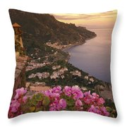 View Of The Coastline From The Hotel Throw Pillow