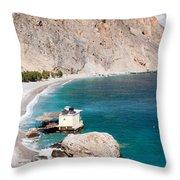View Of The Glikanera Beach, Hora Throw Pillow