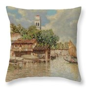 View Of The Gondola Shipyard In San Trovaso Throw Pillow