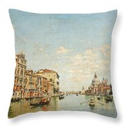 View Of The Grand Canal Of Venice Throw Pillow