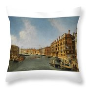 View Of The Grand Canal Venice With The Fondaco Dei Tedeschi Throw Pillow