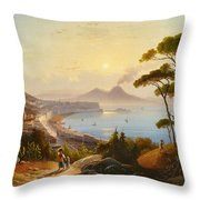 View Of The Gulf Of Naples Throw Pillow