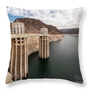 View Of The Hoover Dam Lake With Low Water Reserves Throw Pillow