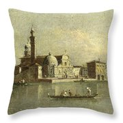 View Of The Isola Di San Michele In Venice Throw Pillow
