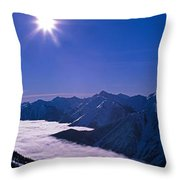 View Of The Kicking Horse Resort Throw Pillow