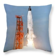 View Of The Liftoff Of Mercury-atlas 5 Throw Pillow