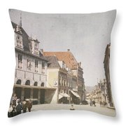View Of The Market Horn  With The Statue Of Jan Pietersz Coen And The Waag Anonymous  1907   1930 Throw Pillow