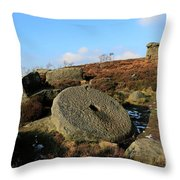 View Of The Mother Cap Gritstone Rock Formation, Millstone Edge Throw Pillow