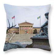 View Of The Museum Of Art In Philadelphia From The Parkway Throw Pillow