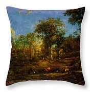 View Of The Pastures Of The Limousin 1835 Throw Pillow