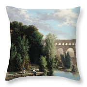 View Of The Pont Du Gard Throw Pillow by Henri Marie Poinsot