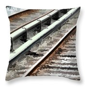 View Of The Railway Track  Throw Pillow