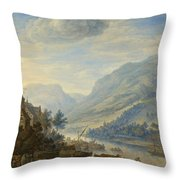 View Of The Rhine River Near Reineck Throw Pillow