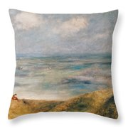 View Of The Sea Guernsey Throw Pillow by Pierre Auguste Renoir