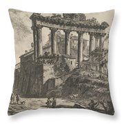 View Of The So-called Temple Of Concord With The Temple Of Saturn, On The Right The Arch Of Septimiu Throw Pillow