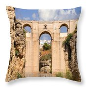 View Of The Tajo De Ronda And The Puente Nuevo Bridge From Across The Valley Throw Pillow