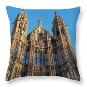 View Of The Top Detail Of The Parlament House In London Throw Pillow