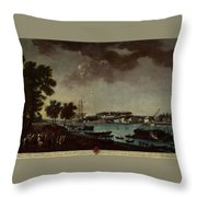 View Of The Town And Port Of Bayonne Throw Pillow