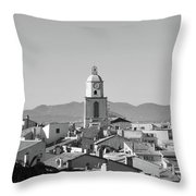 View Of The Village And The Clocher Of Saint-tropez Throw Pillow
