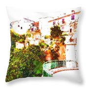 View Of The Village With Trees And Curve Throw Pillow