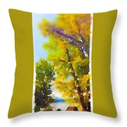 View Of The Willamette From The Trees Throw Pillow