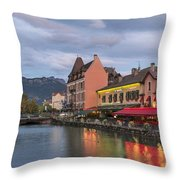 View Of Thiou River In Annecy Throw Pillow