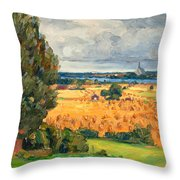 View Of Vadstena From The Surrounding Fields Throw Pillow