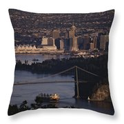 View Of Vancouver, British Columbia Throw Pillow by Annie Griffiths