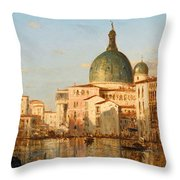 View Of Venice With San Simeone Piccolo Throw Pillow