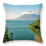 View Of Volcano San Pedro With A Crown Of Clouds In Guatemala Throw Pillow