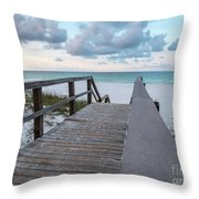 View Of White Sand And Blue Ocean From Wooden Boardwalk Throw Pillow