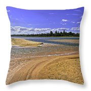 View Of Wollumboola Lake From Sand Dunes Throw Pillow