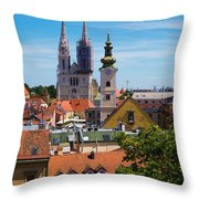 View Of Zagreb Throw Pillow