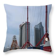 View Oftajmahal Hotel Atalantic City America From The Play Ground Family Entertainment Centre Beach Throw Pillow
