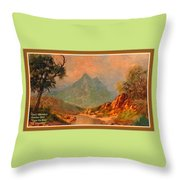View On Blue Tip Mountain H A With Decorative Ornate Printed Frame. Throw Pillow