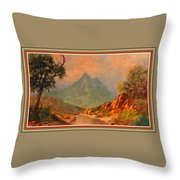 View On Blue Tip Mountain H B With Decorative Ornate Printed Frame. Throw Pillow