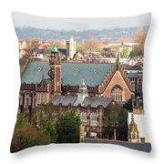 View Over Bristol With Bristol Grammar School Throw Pillow