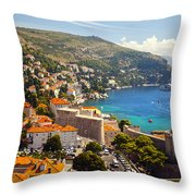 View Over Dubrovnik Coastline Throw Pillow