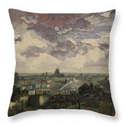 View Over Rooftops Of Paris Throw Pillow