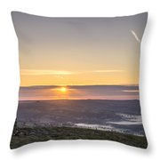 View Over The Hope Valley From Mam Tor At Dawn Throw Pillow