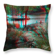 View To The Cove - Use Red-cyan 3d Glasses Throw Pillow
